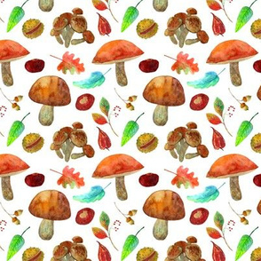 Mushrooms_autumn_watercolor_pattern