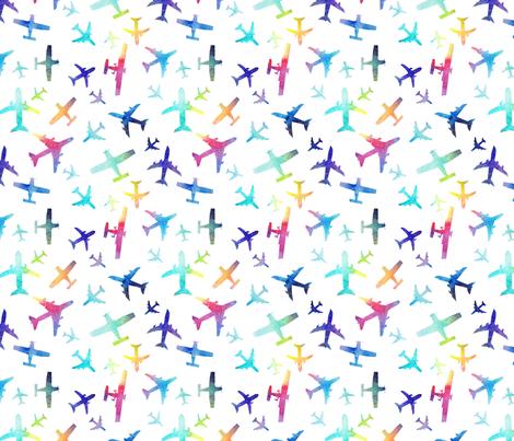 Rainbow Planes  fabric by emeryallardsmith on Spoonflower - custom fabric