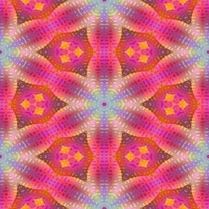 STARS FLOWERS HEXAGON PINK PURPLE CORAL BOHO SUNNY AFTERNOON