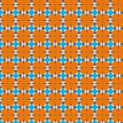 Blue and Orange Floral geometric