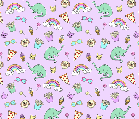 Pizza Party Stickers // Purple Power fabric by pizzzaparty on Spoonflower - custom fabric