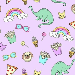 Pizza Party Stickers // Purple Power