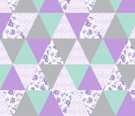 purple floral cheater quilt fabric by charlottewinter on Spoonflower - custom fabric