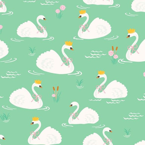 Fairytale Swans // Green Meadow