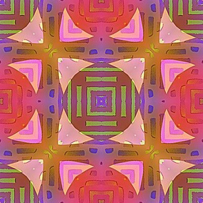 PAGODA CHECKERBOARD PINK PURPLE CORAL BOHO SUNNY AFTERNOON