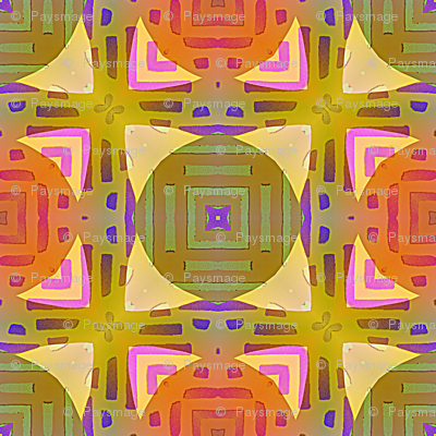 PAGODA CHECKERBOARD MARIGOLD YELLOW CORAL BOHO SUNNY AFTERNOON