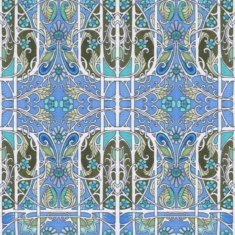 Her Timeless Blue Garden Grace fabric by edsel2084 on Spoonflower - custom fabric