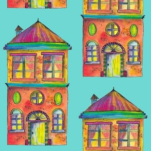 THE RAINBOW BRIGHT HOUSE ON TURQUOISE BLUE PSMGE