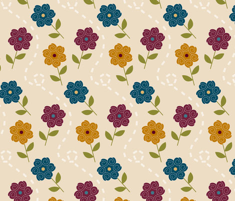 Jewel Spiral Floral fabric by christina_steward on Spoonflower - custom fabric