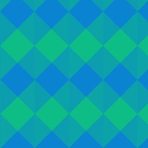 blue and green checker board