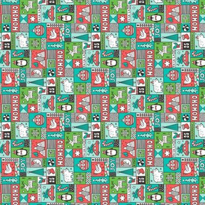 Christmas Patchwork Red Green Mint Tiny Small Rotated