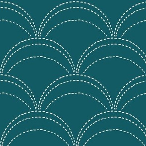 large wave stitch-teal