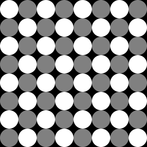 One Inch White and Medium Gray Circles on Black fabric by mtothefifthpower on Spoonflower - custom fabric