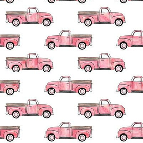 vintage truck - watercolor pink