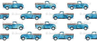 vintage truck - watercolor blue