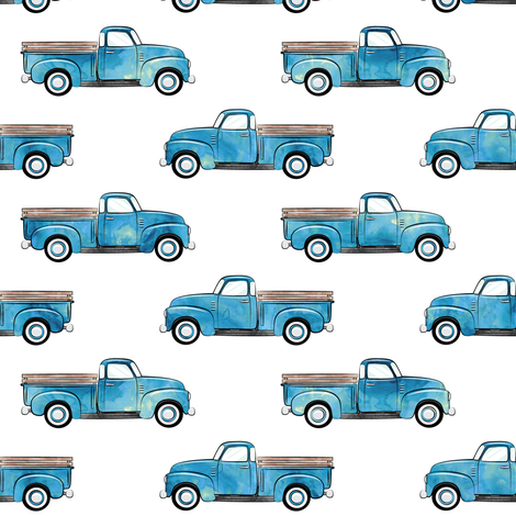 vintage truck - watercolor blue fabric by littlearrowdesign on Spoonflower - custom fabric