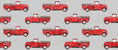 vintage truck - watercolor red on grey