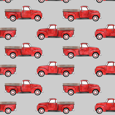 vintage truck - watercolor red on grey fabric by littlearrowdesign on Spoonflower - custom fabric
