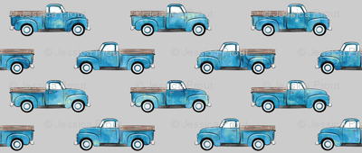 vintage truck - watercolor blue on grey