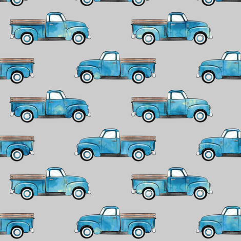 Vintage truck watercolor blue on grey fabric for Little blue truck fabric