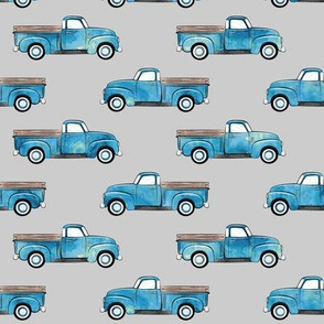 vintage truck - watercolor blue on grey