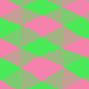 Pink and Green Chevron Abstract
