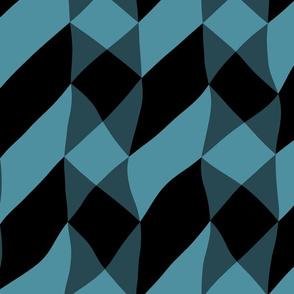Black and Blue Chevron Cross
