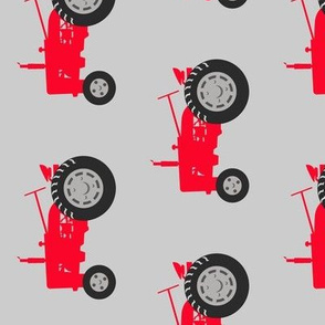 (large scale) tractors  - red on grey (90)