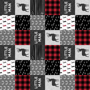 "(3"" small scale) little man (90) - red and black (buck) quilt woodland"