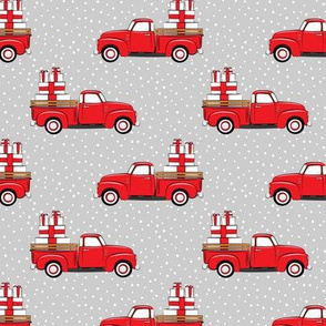 vintage truck with gifts - red on grey