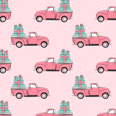vintage truck with gifts - on pink fabric by littlearrowdesign on Spoonflower - custom fabric