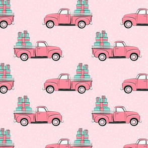 vintage truck with gifts - on pink
