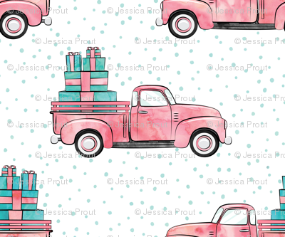 vintage truck with gifts - watercolor pink