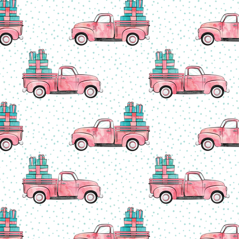 vintage truck with gifts - watercolor pink fabric by littlearrowdesign on Spoonflower - custom fabric