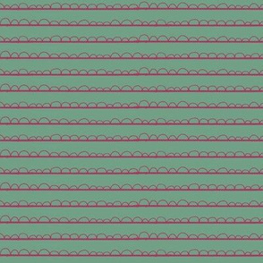 frilly stripe fuschia/mermaid green