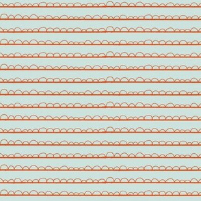 frilly stripe orange/grey blue