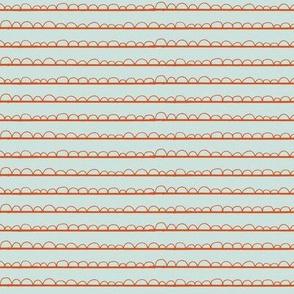 frilly stripe orange/grey blue