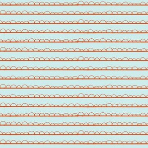 frilly stripe orange/pale blue