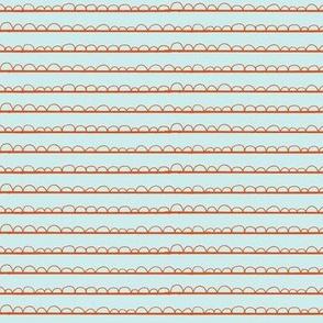 frilly stripe orange/pale blue