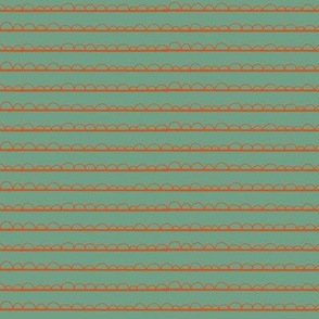frilly stripe orange/mermaid green
