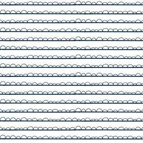 frilly stripe white/navy