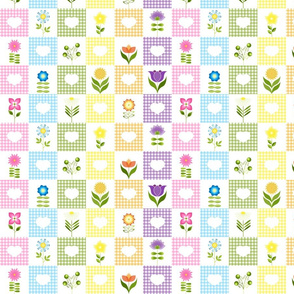 Groovy Flower Garden Check Rainbow