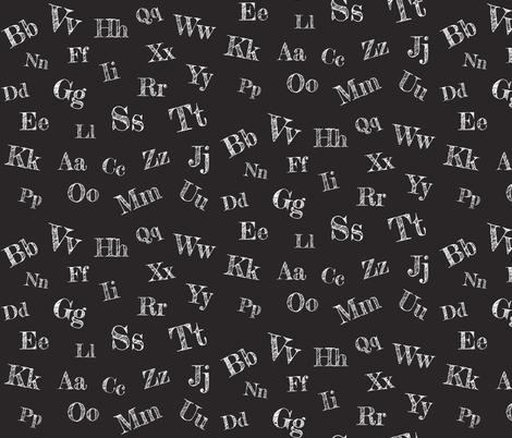 Chalkboard Alphabet fabric by thehappydodo on Spoonflower - custom fabric