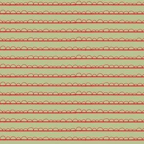 frilly stripe avocado/red