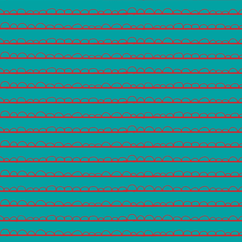 frilly stripe aqua/red fabric by ali*b on Spoonflower - custom fabric