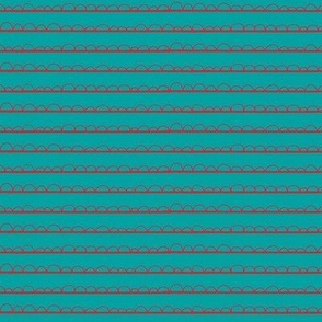 frilly stripe aqua/red