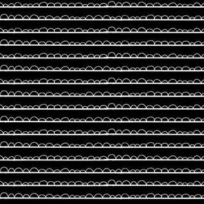 frilly stripe black/white