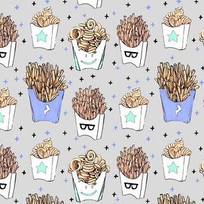 French Fries Gray LARGE // fast food, yum, food, fried, curly fries, eat, unisex, tamara arcilla