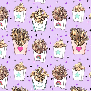 French Fries Purple LARGE // fast food, yum, food, fried, curly fries, eat, girly, tamara arcilla