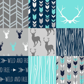 patchwork Deer - light teal/aqua custom color